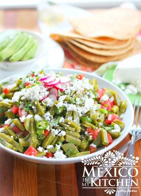 Nopales salad recipe, cactus paddles