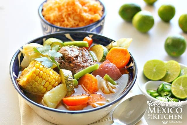 Caldo de res, cocido, a Traditional Mexican beef and vegetables soup recipe