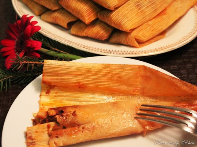 Tamales made with masa harina, Mexican Christmas Dishes