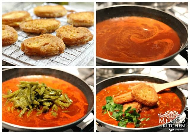 Dried Shrimp Patties In A Red Sauce With Cactus Mexico In My Kitchen
