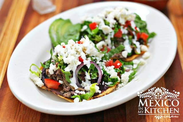 shredded Beef Tostadas, a traditional way to prepare this dish.