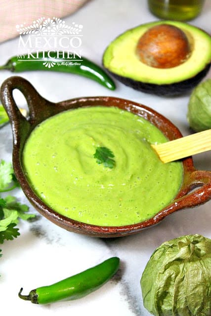 Avocado Green Salsa | Guacamole salsa Recipe| Authentic Mexican Recipes by Mexico in My Kitchen