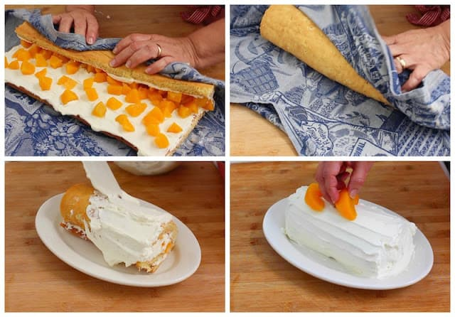 Peach cake roll recipe, step by step photo recipe plus video.