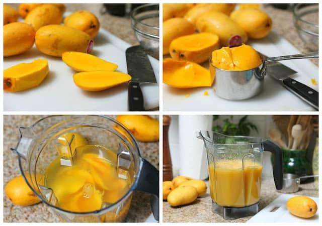 Mango Agua Fresca Recipe cutting the mangos